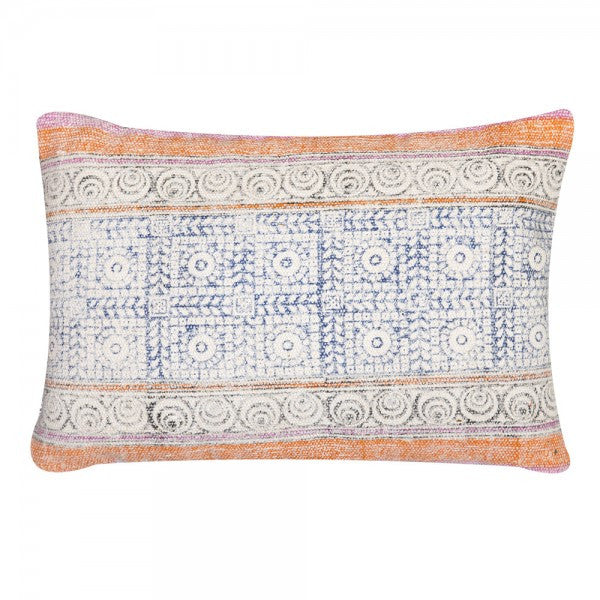 Handmade Orange Overdyed Cotton Pillow