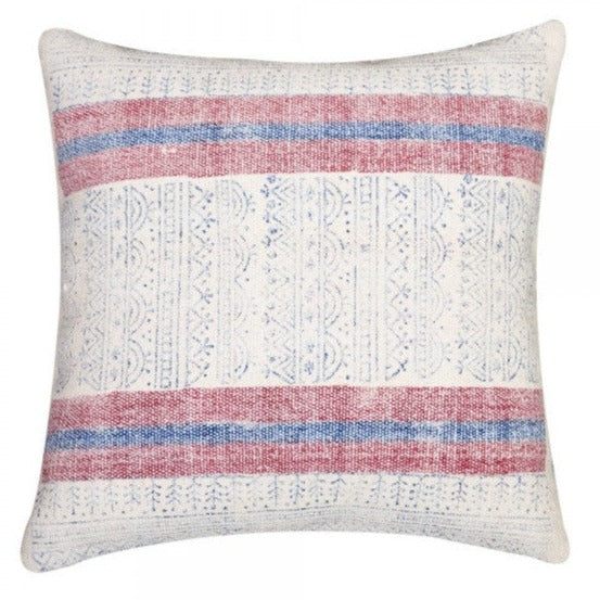 Handmade White Red and Blue Overdyed Cotton Pillow