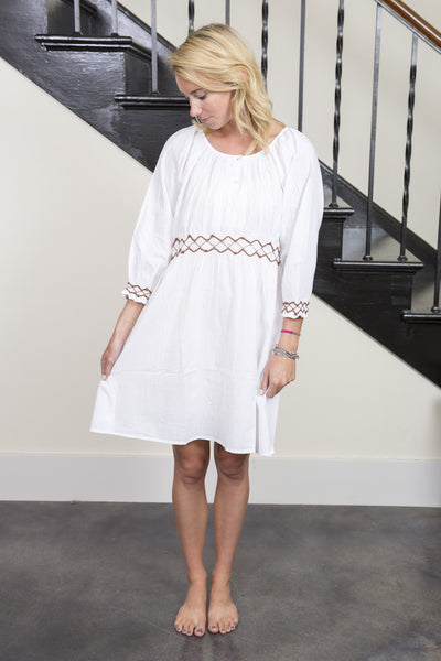 Hand-Embroidered Soft Cotton White Dress with Three-Quarter Sleeves