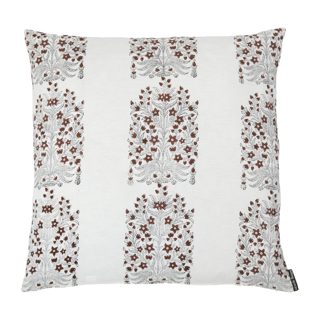 Fleur Saffron floral linen throw pillow