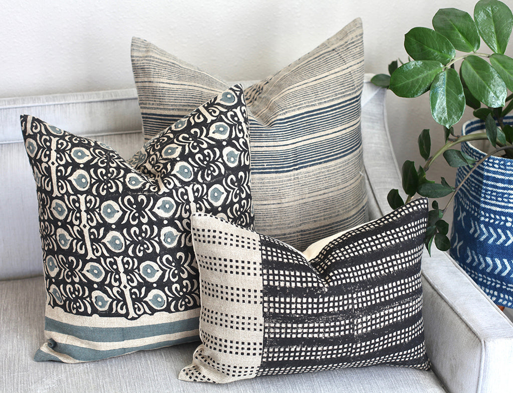 contemporary geometric and floral pillows