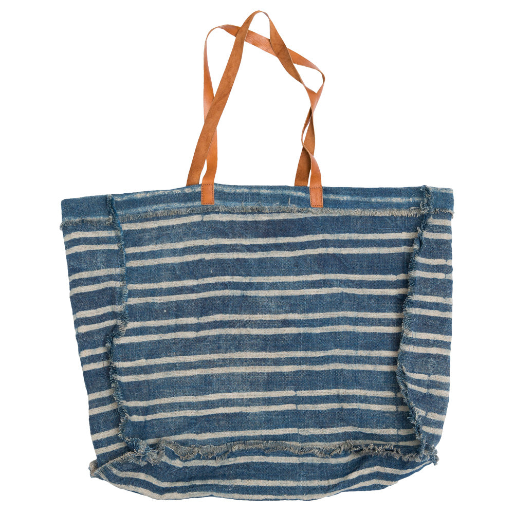 Striped Indigo Tote Bag