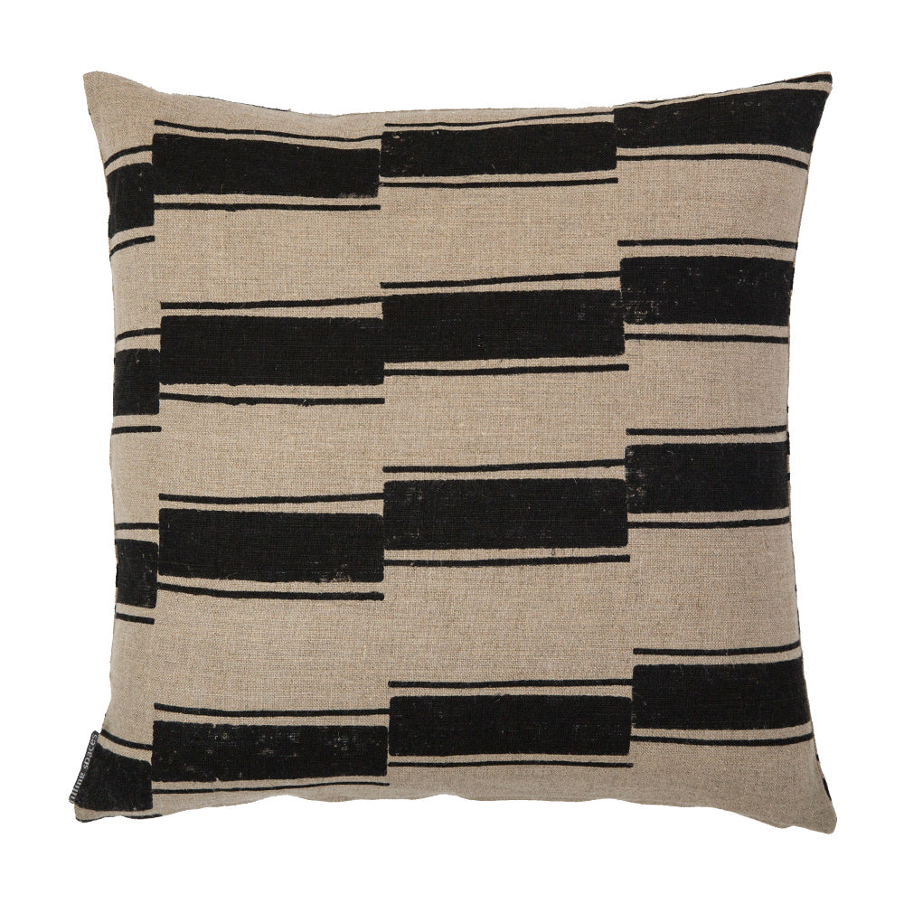 Beni Black block-print linen throw pillow