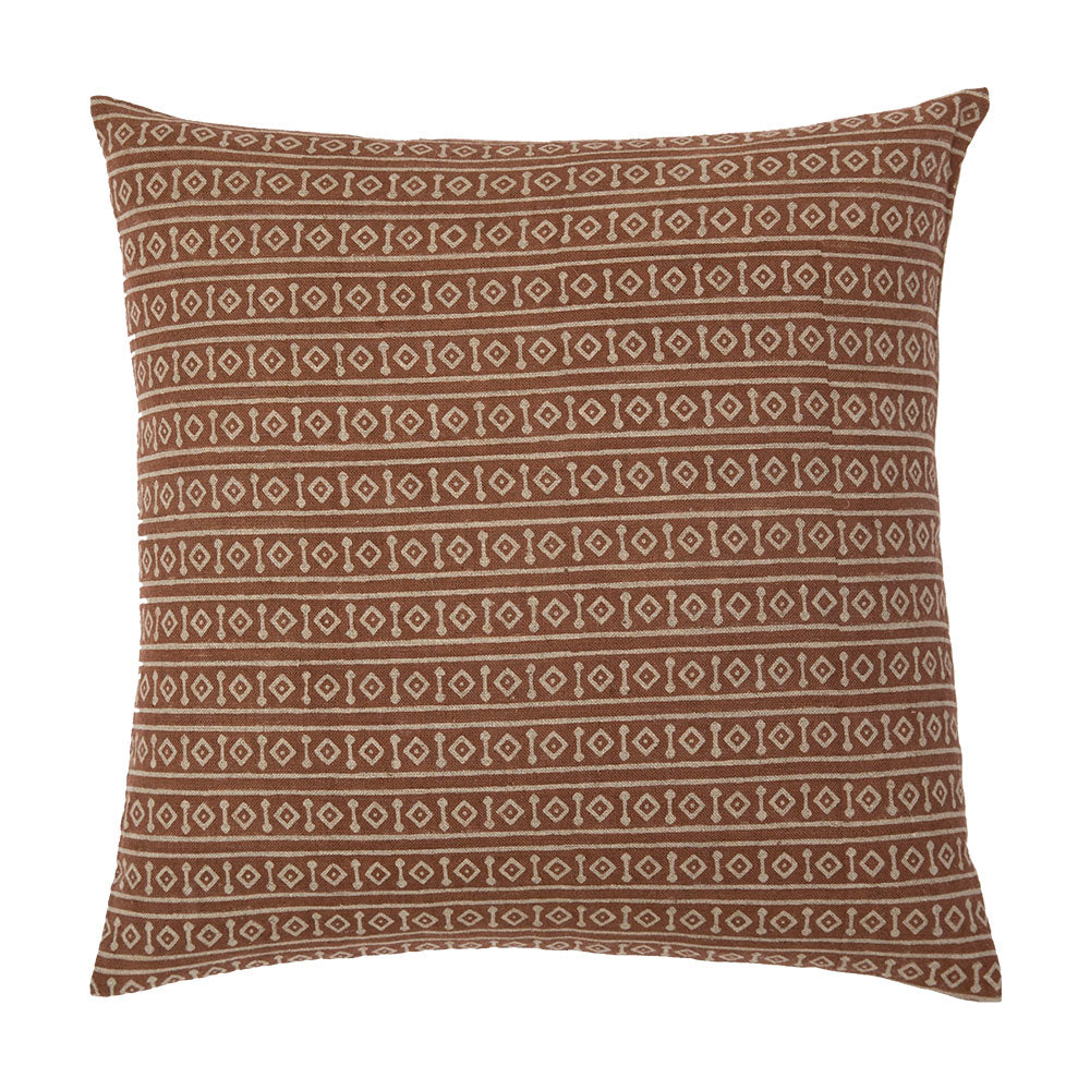 Hand block printed throw pillow in rust / saffron geometric