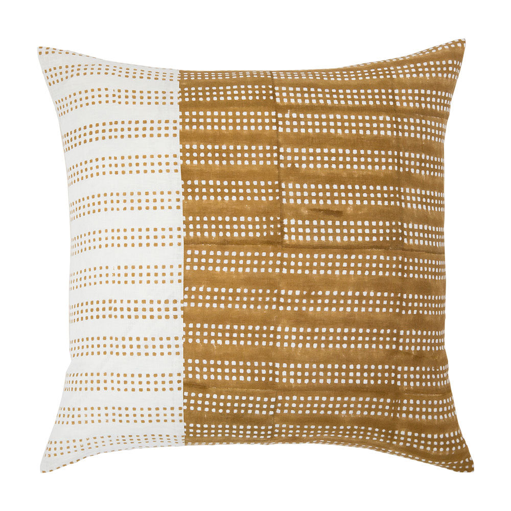 Nepsa Mustard Band block print throw pillow with mustard yellow and white dots