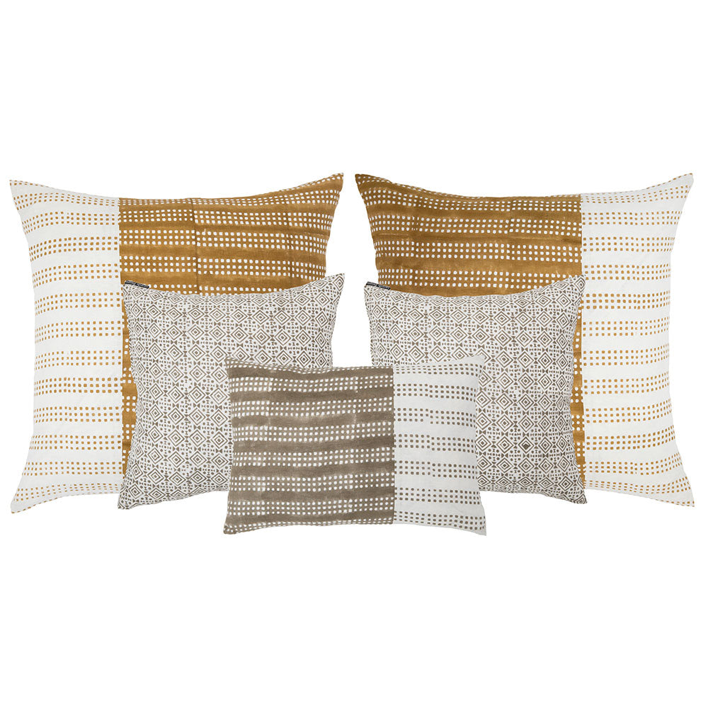 mustard and neutral throw pillows