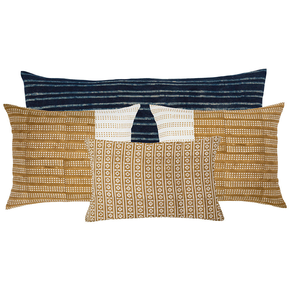 yellow and blue linen pillows