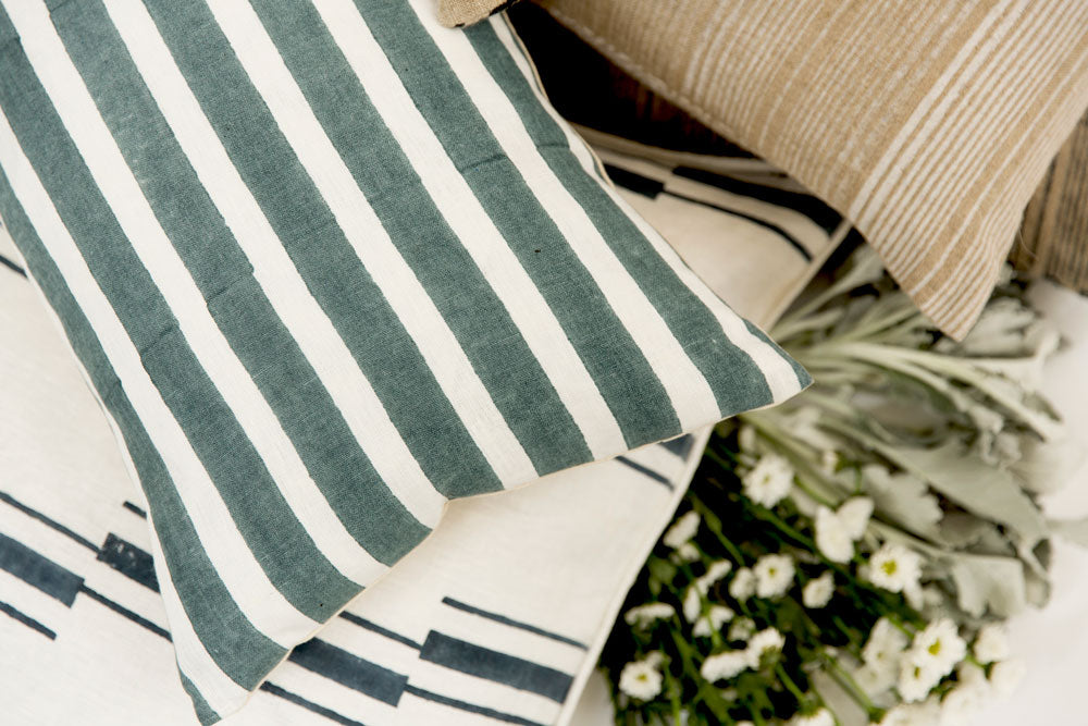 striped block printed throw pillows