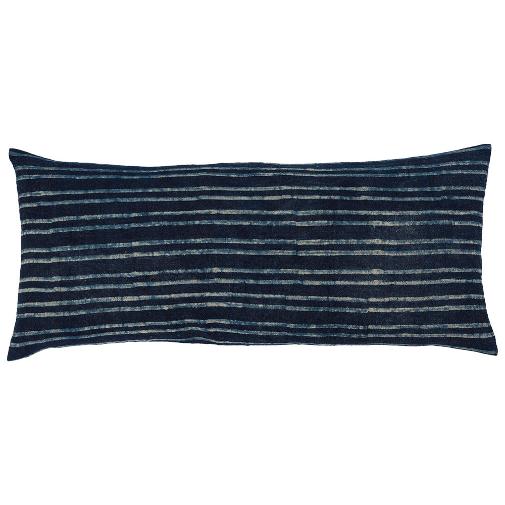 Block printed lumbar pillow with dark blue / white stripes