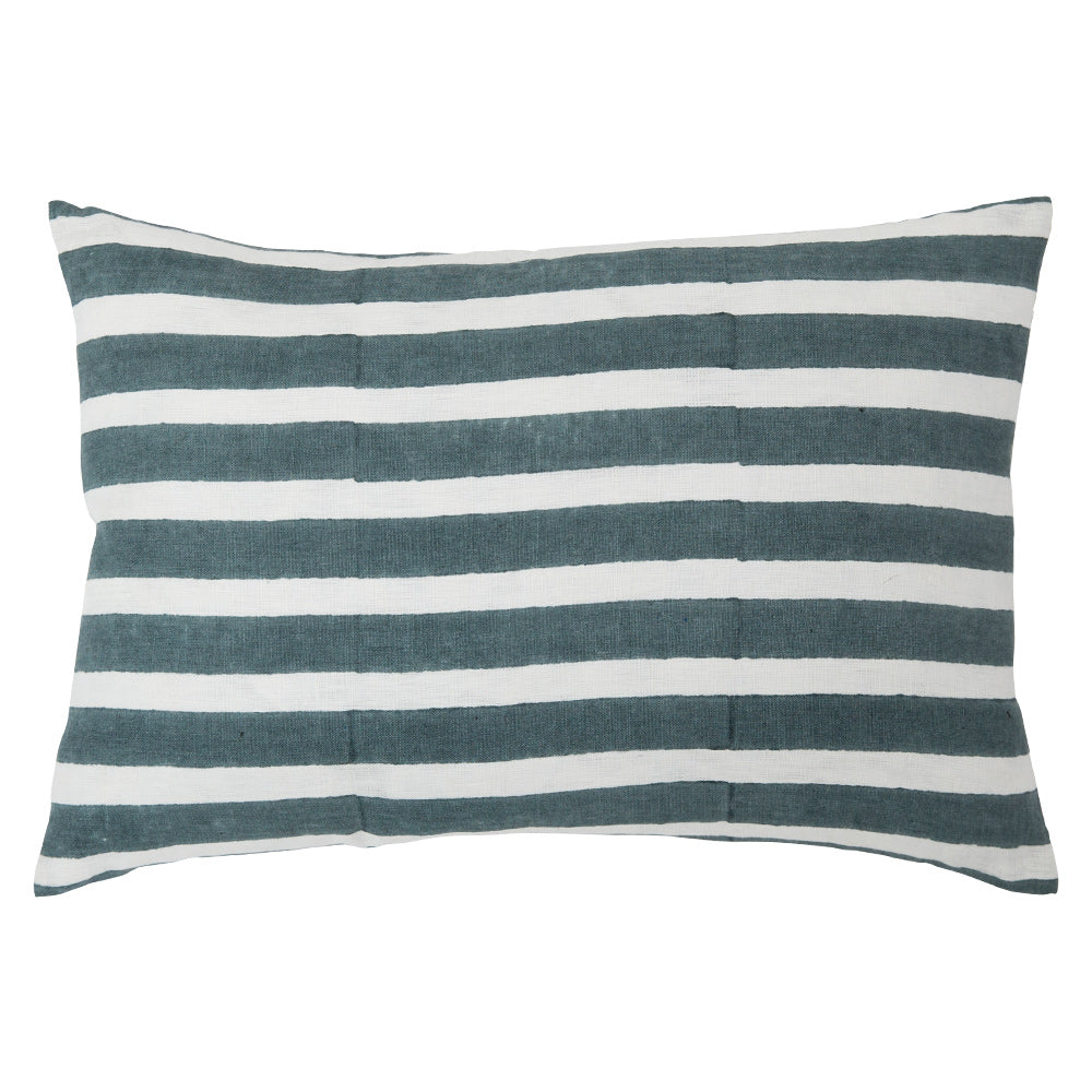 Stripes Teal blockprint 14x20 pillow