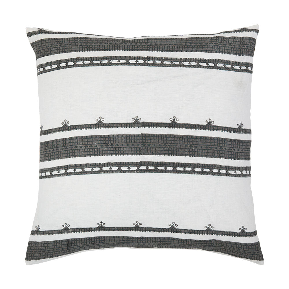 Toda Gray linen stripe throw pillow