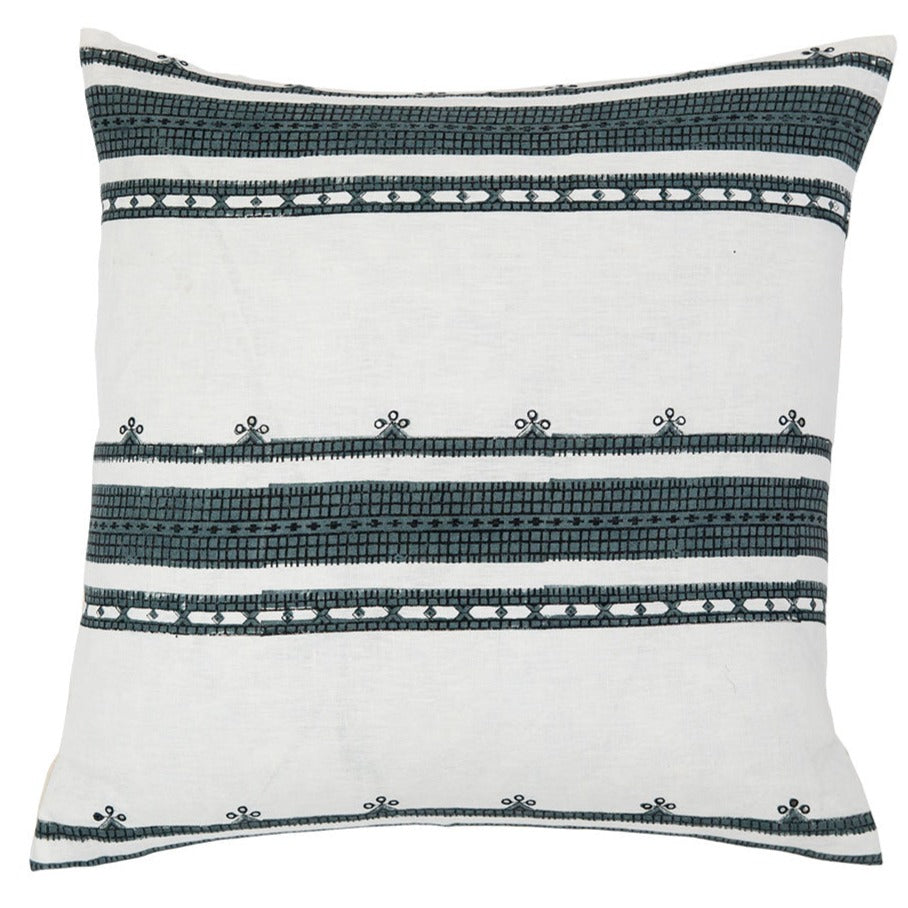 Toda Teal throw pillow with block printed Indian tribal pattern