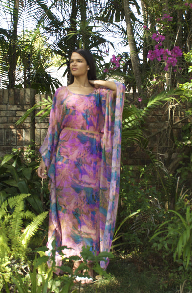 Maxi Caftan Purple and Blue