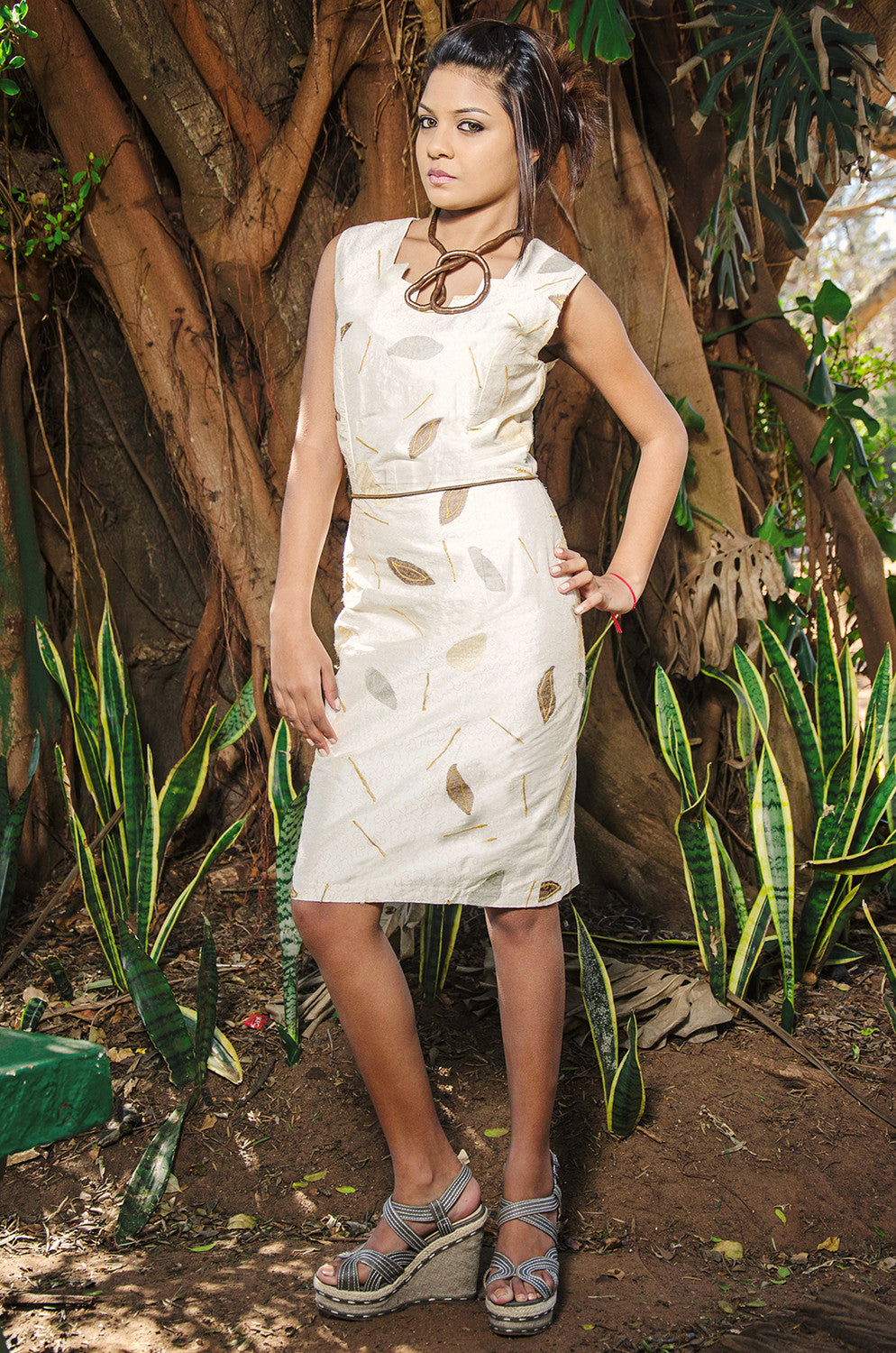 Silk Leaf shift Dress