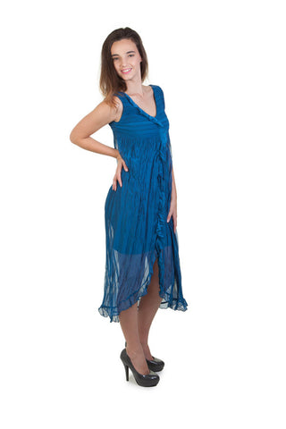 Blue Crinkle Chiffon Dress