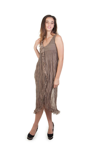 Bronze Crinkle Chiffon Dress
