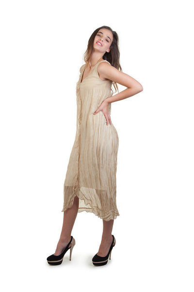 Gold Crinkle Chiffon Dress