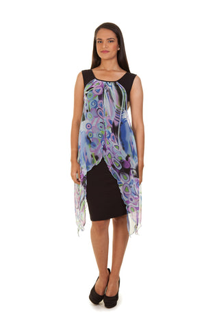 Floral Scarf Dress (Purple)