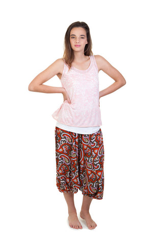 Printed Harem Pants (Orange)