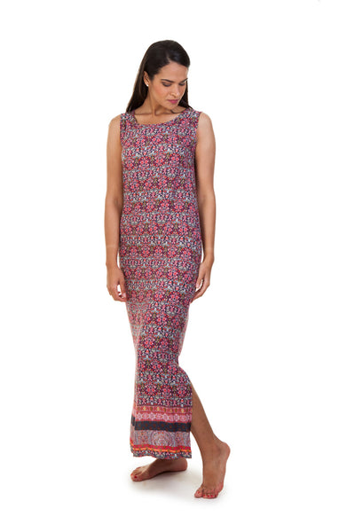 Sleeveless Maxi Border Dress