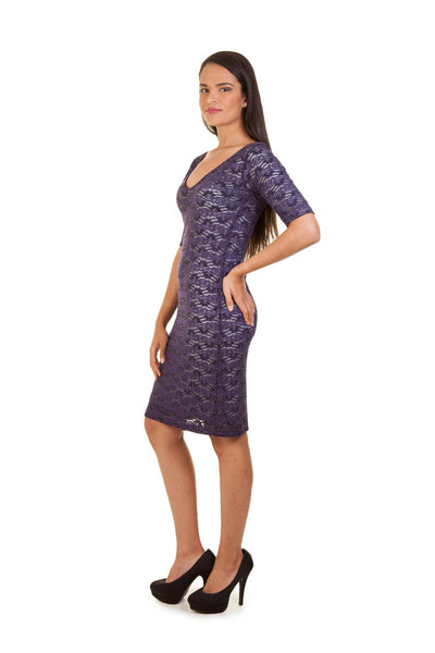 Lace Shift Dress (Purple)