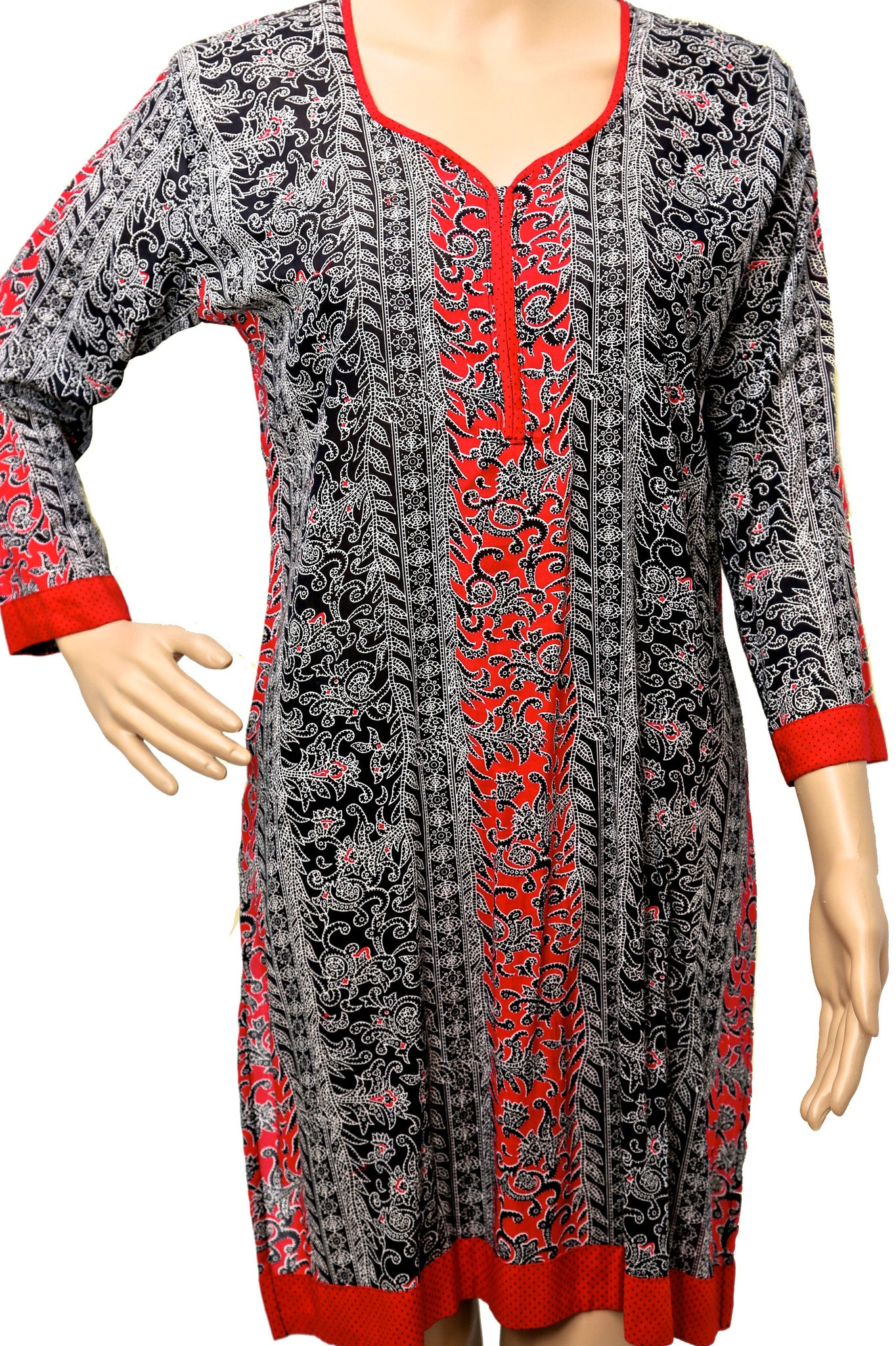 Red and Black Printed Tunic