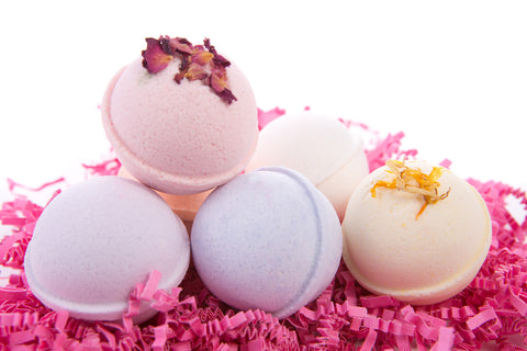 Bath Bomb Gift Set w/ Rose, Lilac, Gardenia, Violet, Freesia & Orange Blossom Scented Fizzies Bath Balls - Set of 6