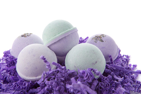 Bath Bomb Gift Set w/ Lavender, Coconut Milk & Lavender and Lavender Chamomile Scented Fizzies Bath Balls - Set of 6