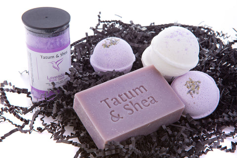 Bath / Spa Gift Set |Natural Handmade Lavender Soap Bar, Lavender Scented Dead Sea Bath Salt, 4 Fizzy Bath Bombs (2 Each, Lavender and Coconut Milk & Lavender)