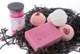 Bath / Spa Gift Set | Natural Handmade Rose Soap Bar, Rose Scented Dead Sea Bath Salts, 4 Fizzy Bath Bombs (2 Each, Rose & Gardenia)