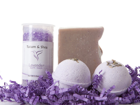 Spa Set - Lavender - Soap, Bath Salts & Bath Bombs