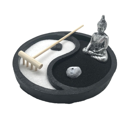 Zen Garden for Desk with Incense Holder, Yin Yang Black/White Sand