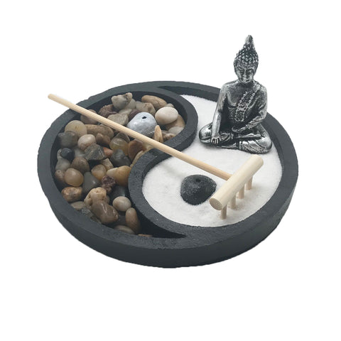 Zen Garden for Desk with Incense Holder, Yin Yang Sand and Rock