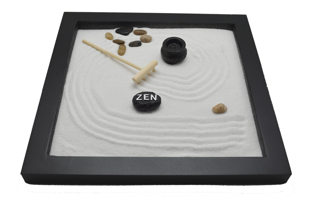 Table Top Rock Sand Rake Zen Garden Incense Holder Tabletop Set