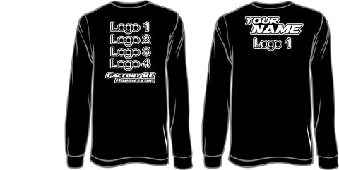 Personalized RC Racing Shirt - Long Sleeve (Basic Black And White)