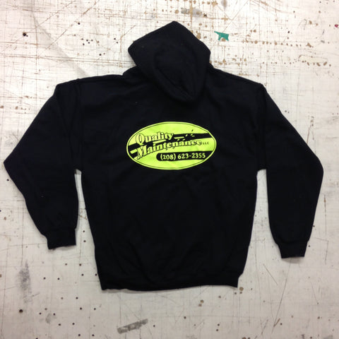 Custom Black Sweatshirt with Flo Yellow/Green Logo