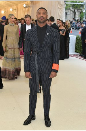 Michael B. Jordan Channels 'Black Panther' Vibes at Met Gala in Off-White