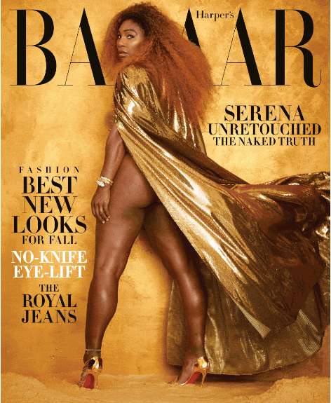 Serena Williams covers Harpers Bazaar US untouched