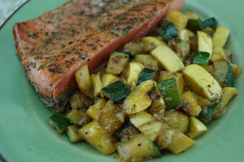 Healthy & Satisfying Salmon with Quinoa & Squash | Skillit Cooking, Skillet Recipes
