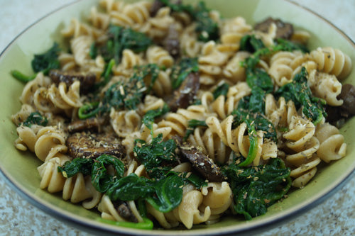 pasta-spinach-mushroom-skillit-recipes-skillet-cooing