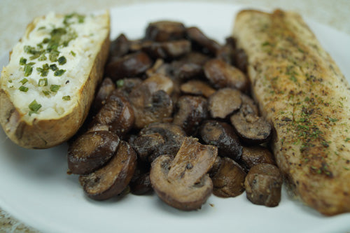 Buttery Whitefish with Mushrooms & Baked Potato | Skillit Cooking