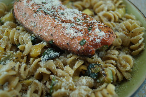 Seared Salmon with Squash and Zucchini Pasta | Skillit Cooking