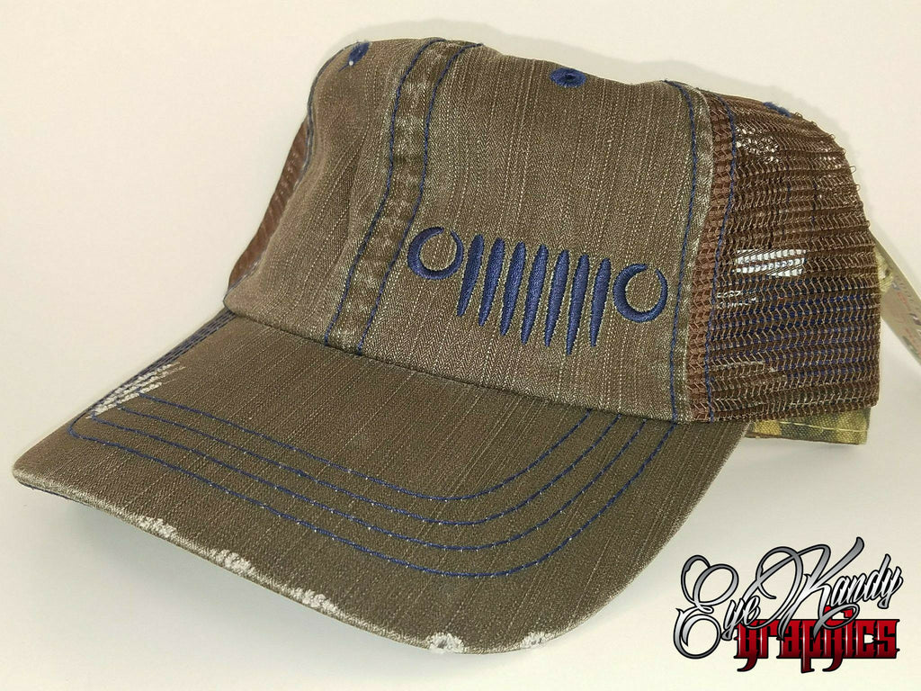 Distressed Charcoal Truck Jeep Hat ~ Jeep Life ~ Jeep Hat ~ Go Topless  ~ Jeep logo