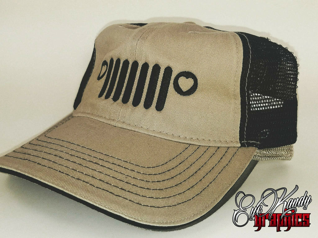 Tan/Black Trucker Jeep Hat ~ Jeep Life ~ Jeep Hat ~ Go Topless  ~ Jeep logo