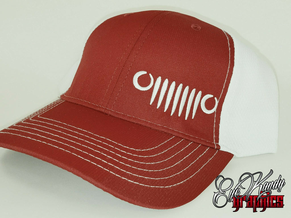 Red/White Trucker Jeep Hat ~ Jeep Life ~ Jeep Hat ~ Go Topless  ~ Jeep logo