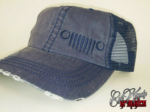 Distressed Blue/Denim Trucker Jeep Hat ~ Jeep Life ~ Jeep Hat ~ Go Topless  ~ Jeep logo