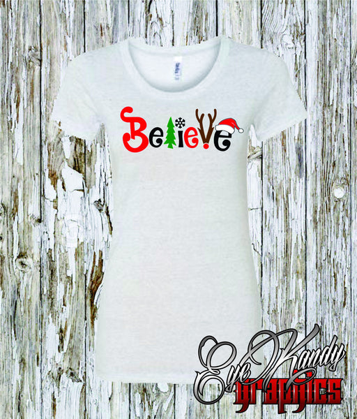 """Believe"" with christmas tree, snowflake, reindeer, and santa hat - Women's Shirt - Great for gifts"