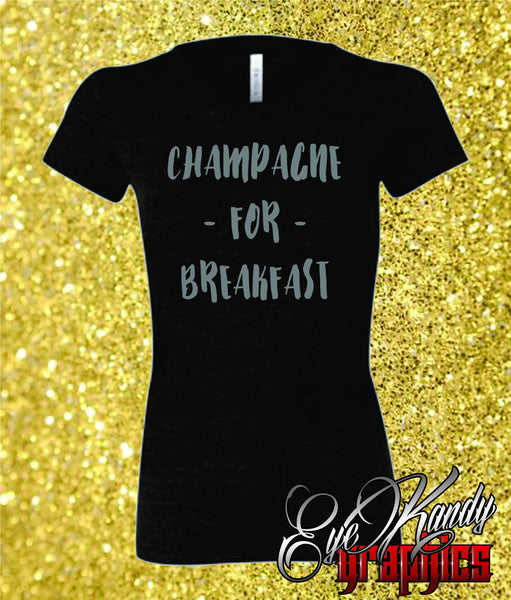 Champagne for Breakfast ~ Sunday Funday ~ Ladies Trendy New Year T-shrit ~ NYE