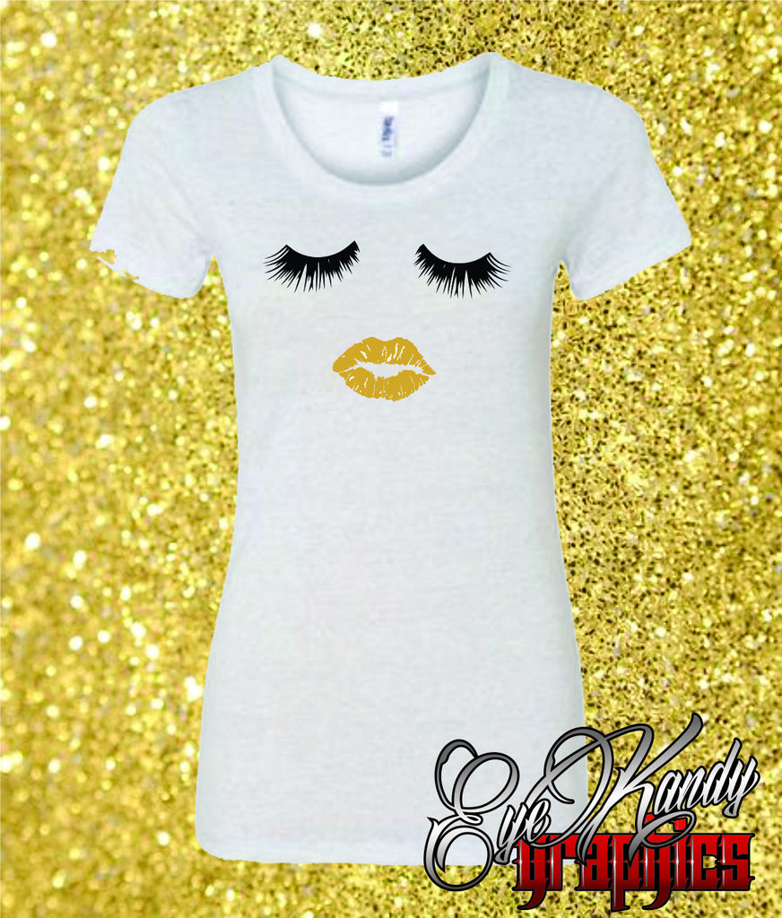 Lips & Lashes ~ Trendy Ladies T-shirt ~ Perfect for NYE