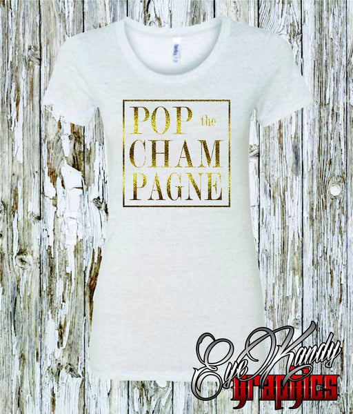 POP the CHAMPAGNE ~ Sunday Funday ~ NYE ~ Bubbly ~ Gold Metallic Print